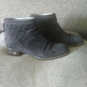 Chanel Black Suede Quilted Detail Ankle Boots sz 8